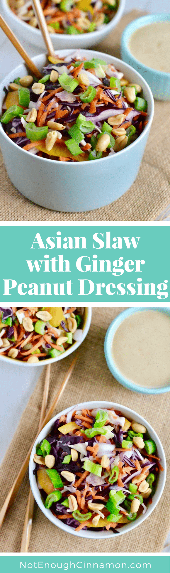 This crunchy Asian Slaw is a healthy twist on a classic coleslaw with a creamy dairy-free Ginger Peanut Dressing instead of mayo! This gluten-free salad goes with any kind of meat or fish and makes the perfect light side dish for a bbq party! #cleaneating, #glutenfree, #coleslaw, #bbq, #dairyfree
