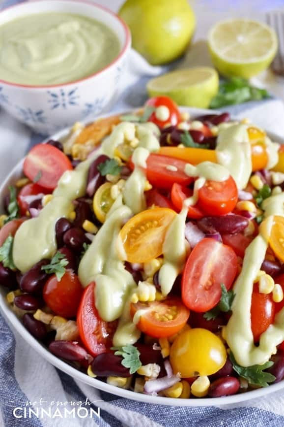 The perfect vegan and vegetarian salad to feed a crowd this summer! Perfect for meatless monday too! Click to see the recipe on NotEnoughCinnamon.com
