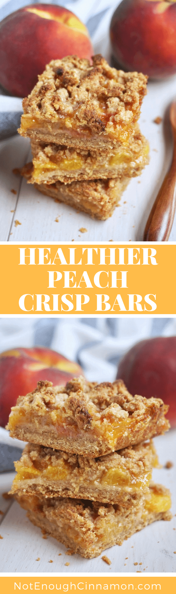 Healthier Peach Crisp Bars |These healthy peach crisp bars with almond flour crumb topping are gluten-free, naturally sweetened and packed with juicy peaches! The perfect guilt-free summer dessert to bring to parties, BBQs or picnics! #summerdesserts, #peachcrisp, #streuselbars, #glutenfreebaking, #refinedsugarfree