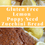 A GLUTEN FREE zucchini bread, but not any kind of zucchini bread! A lemon poppyseed one! So good! Get this healthy recipe on NotEnoughCinnamon.com #cleaneating