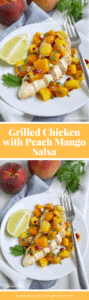 A fresh and delicious salsa made with peach and mango, perfect with grilled chicken – Get the easy recipe on NotEnoughCinnamon.com