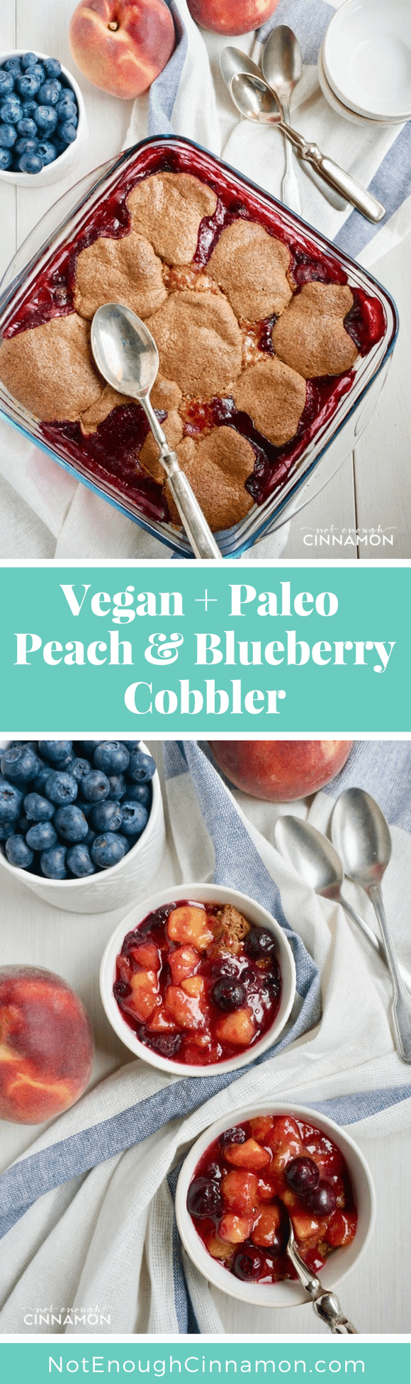 Peach Blueberry Cobbler ( Vegan & Paleo) Fresh blueberries and ripe peaches are tossed with some lemon juice and maple syrup, then covered with a sweet speculoos biscuit topping and baked until bubbly. This stonefruit cobbler screams summer! #summerdesserts, #cobbler, #paleorecipes, #vegandesserts, #speculoos