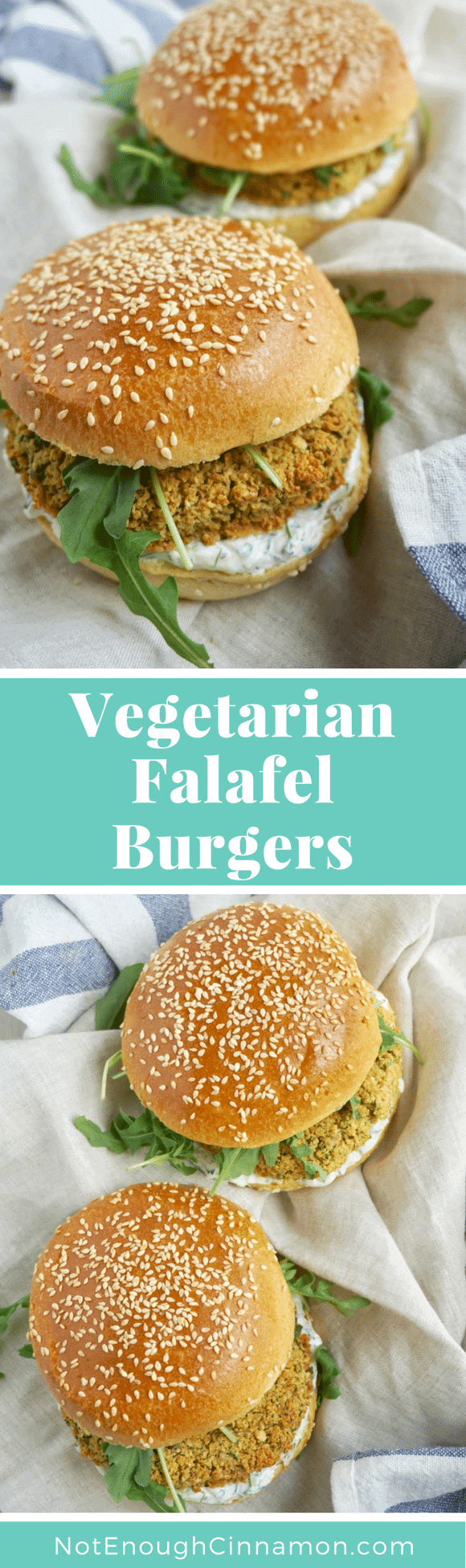 Vegetarian Falafel Burgers |These Baked Falafel Burgers with chickpea patties, arugula, and tzatziki are a great vegetarian healthy burger option and a nice change from classic falafel wraps!  #vegetarianrecipes,#falafel, #veggieburger, #burgerrecipes