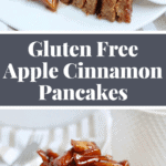 Gluten free and Refined Sugar Free Apple Pancakes with amazing apple topping! To die for! Perfect for Fall. Recipe on NotEnoughCinnamon.com #cleaneating #dairyfree