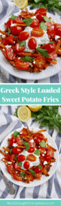 Loaded Sweet Potato Fries, Greek Style! With tzatziki, feta and tomato salad. Great for a delicious dinner or for entertaining. Recipe on NotEnoughCinnamon.com #glutenfree #vegetarian #cleaneating