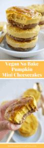 Amazing Pumpkin Vegan Mini Cheesecake - They're dairy free, refined sugar free, paleo and simply irresistible. Get the recipe on NotEnoughCinnamon.com #cleaneating