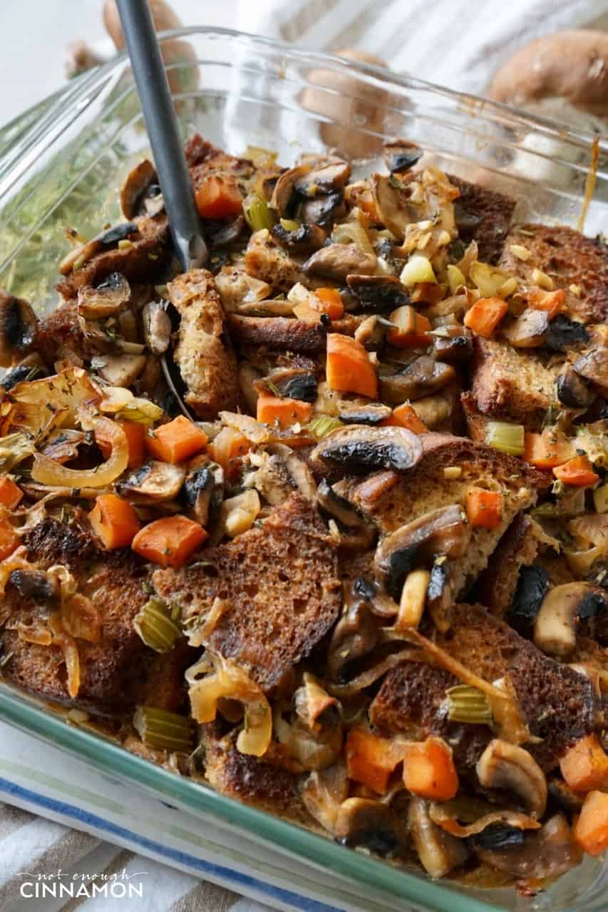 Gluten free this Thanksgiving? Try this Vegetarian Caramelized Onion and Mushroom Stuffing - Recipe on NotEnoughCinnamon.com