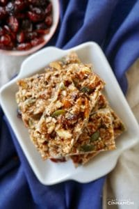 No Bake Cranberry Pumpkin Spice Healthy Snack Bars on a white plate
