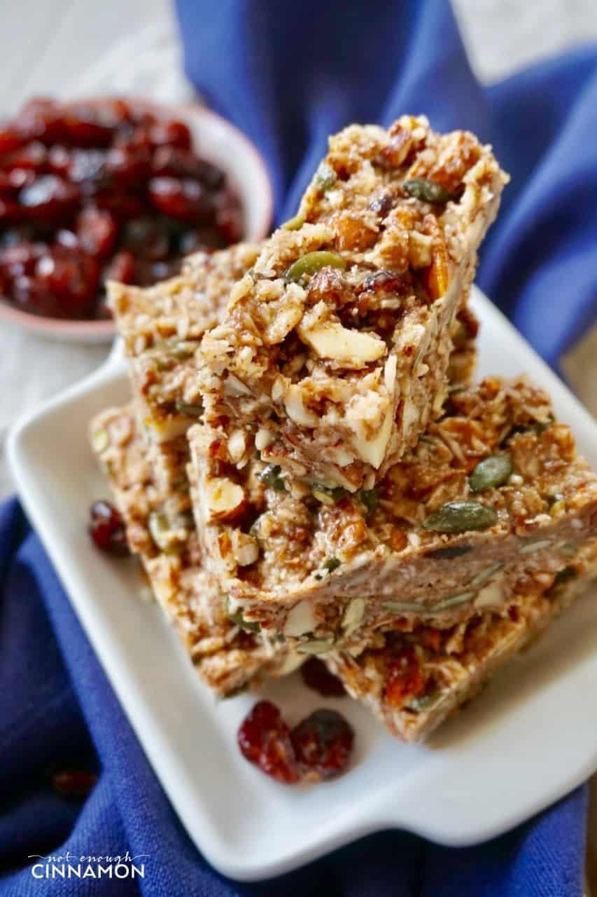No Bake Cranberry Pumpkin Spice Snack Bars {Paleo, Vegan and Gluten Free}