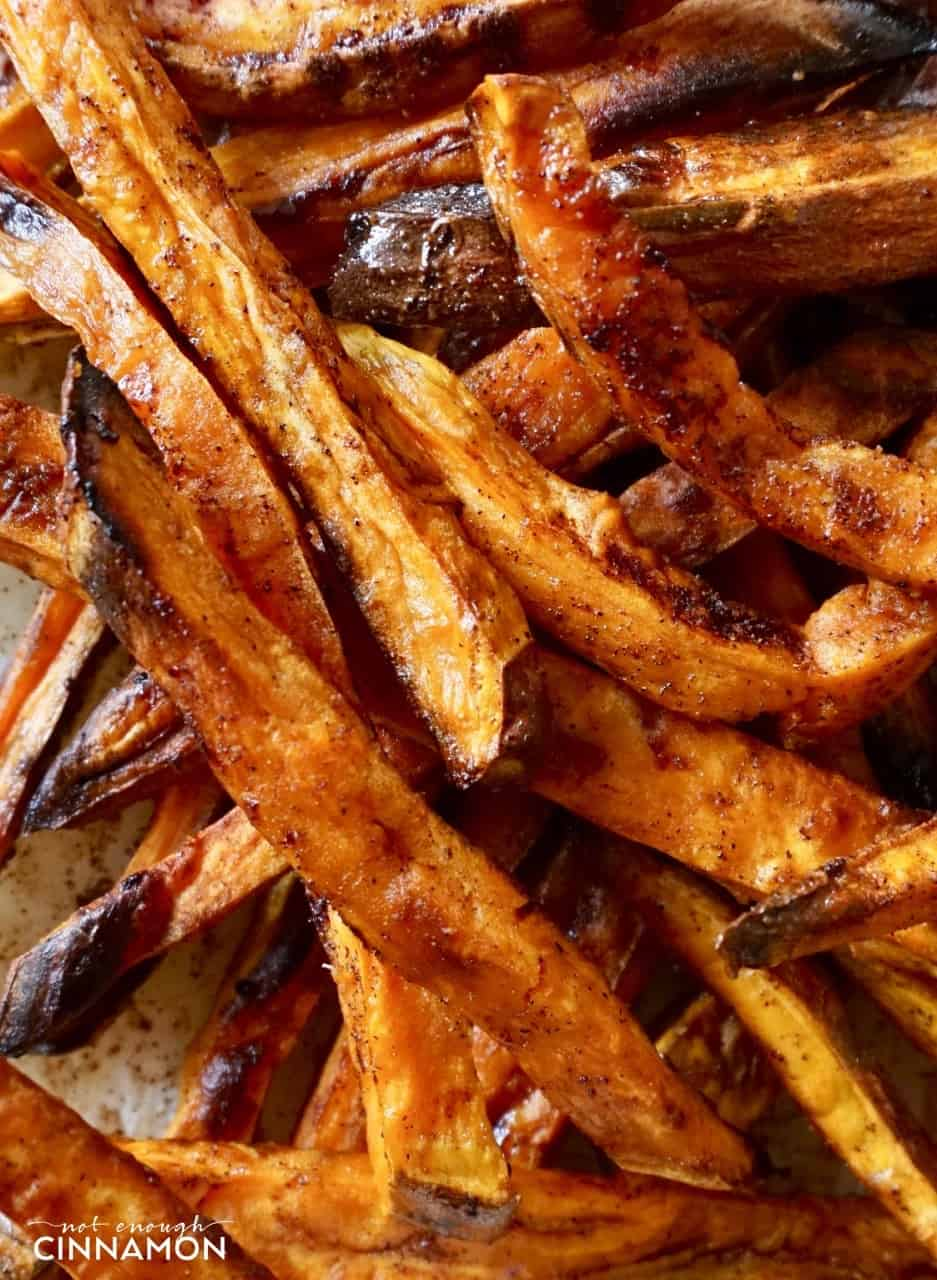 close-up of baked sweet potato fries with coconut sugar and cinnamon