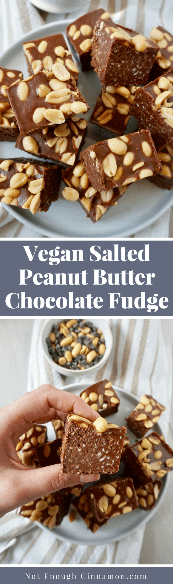 Vegan Salted Peanut Butter Chocolate Fudge / An easy fudge recipe that's not only made with healthy wholesome ingredients but super delicious too! Perfect as a holiday gift or as a snack. They are vegan and naturally gluten-free. #glutenfree, #vegansweets, #vegandesserts, #veganfudge, #fudgerecipes