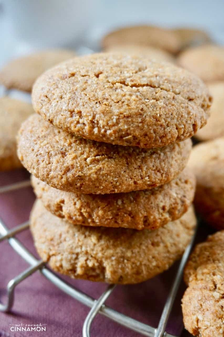 close-up of a stack of Gluten Free Chai Cookies on a cooling rack