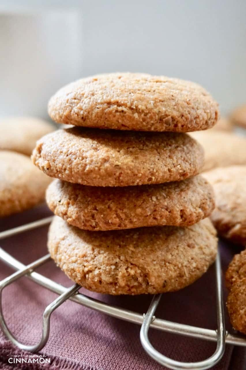 side view of a stack of Gluten Free Chai Cookies on a cooling rack