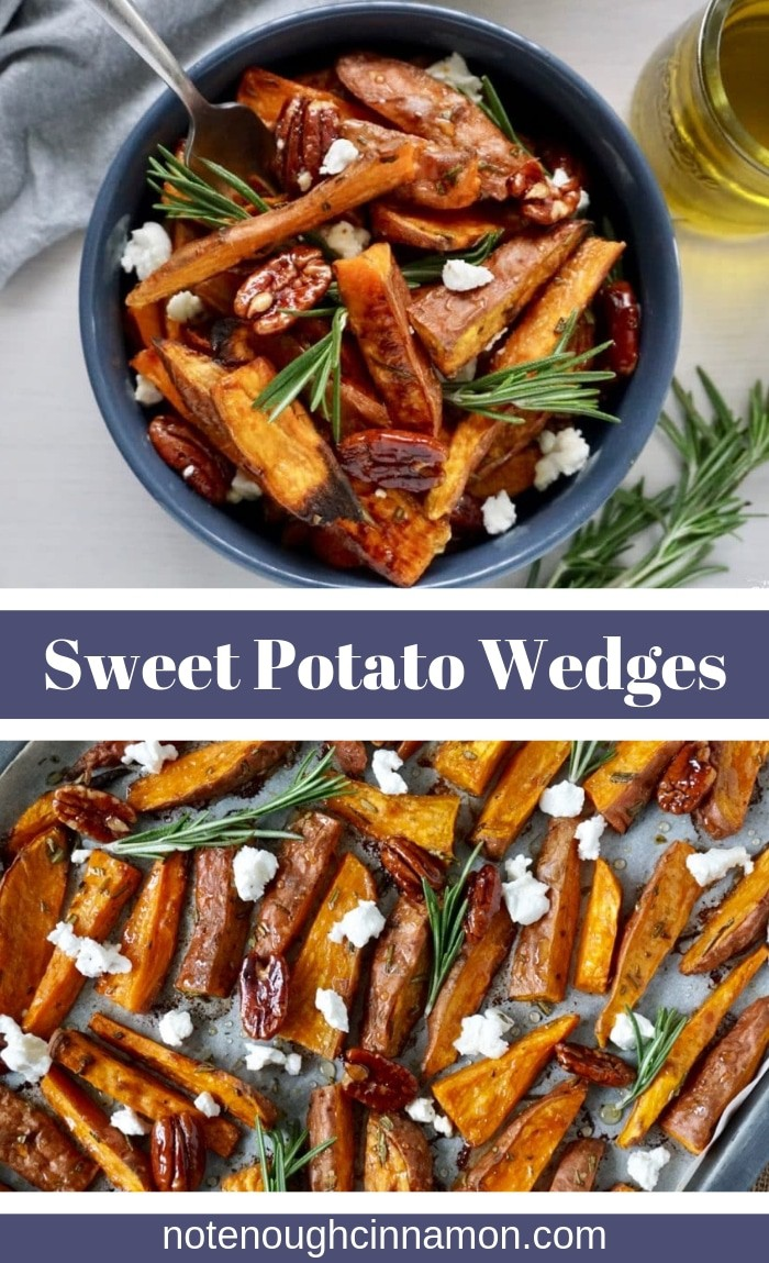 Are sweet potato wedges a thing for you? Healthy oven baked sweet potato wedges with honey, fresh rosemary, and goat cheese! Perfect for a healthy comforting side dish! #sweetpotatoes #potatowedges #thanksgivingsides #potatoes #healthywedges #appetizers #sweetpotatowedges