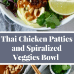 Thai Veggie Bowl with Thai Chicken Patties and Peanut Sauce