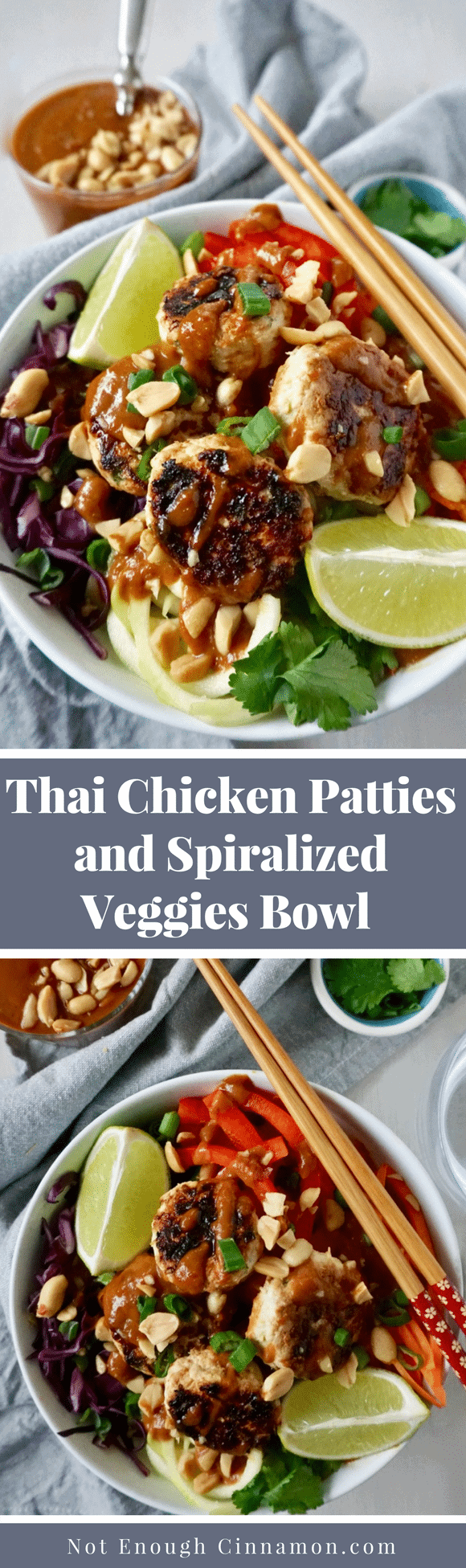 Thai Chicken Patties & Spiralized Veggies Bowl | A big bowl of goodness inspired by Thai cuisine made of moist mini Thai chicken patties, fresh, colorful veggies, and a delicious sweet and spicy peanut sauce.A healthy, gluten-free clean eating meal perfect for meal prepping! #mealprepping, #cleaneating, #Thaicuisine, #glutenfreerecipes, #chickenpatties