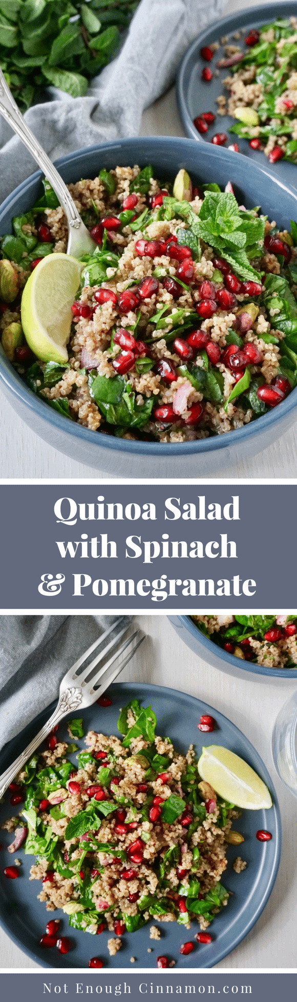 Quinoa Salad with Spinach and Pomegranate | A beautiful vegan quinoa salad inspired by Middle-Eastern and Persian cuisine with pomegranate arils, fresh mint, and pistachios. Eat this healthy and filling vegan salad either as a main or a side dish.#cleaneating, #vegansaladrecipes, #quinoasalad, #healthysaladrecipes