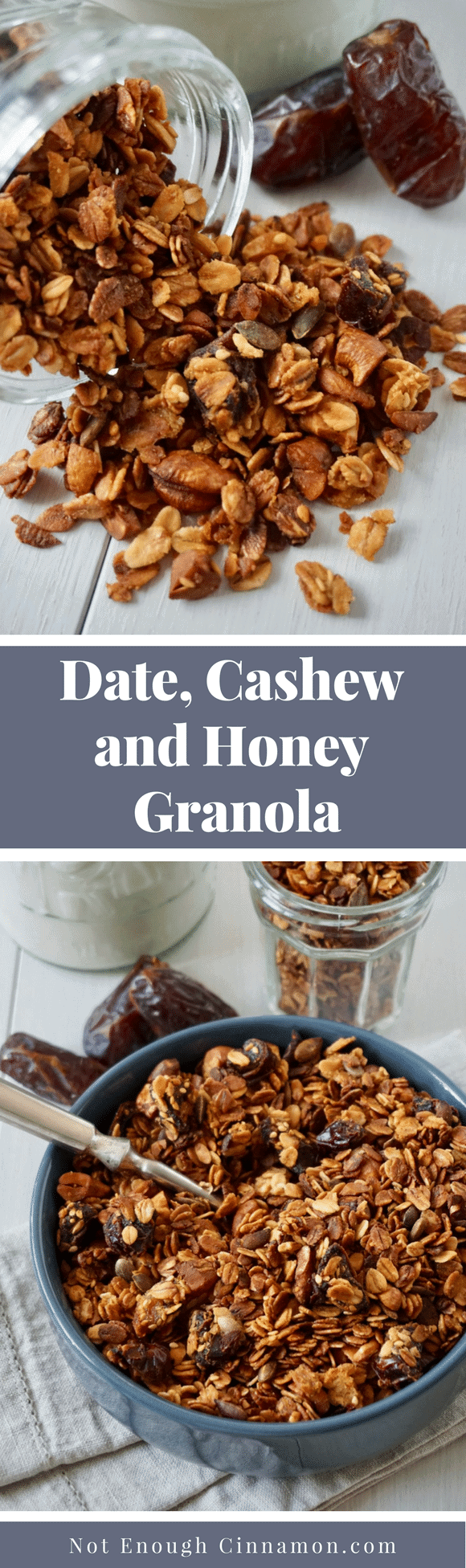 Date, Cashew & Honey Granola | An easy baked honey granola recipe featuring Medjool dates and cashews. The perfect sweet homemade treat for breakfast - delicious on its own, sprinkled over some Greek yogurt, or used as a smoothie topping! #granolarecipes, #cleaneating, #granola, #honeygranola, #naturallysweetened, #healthybreakfast