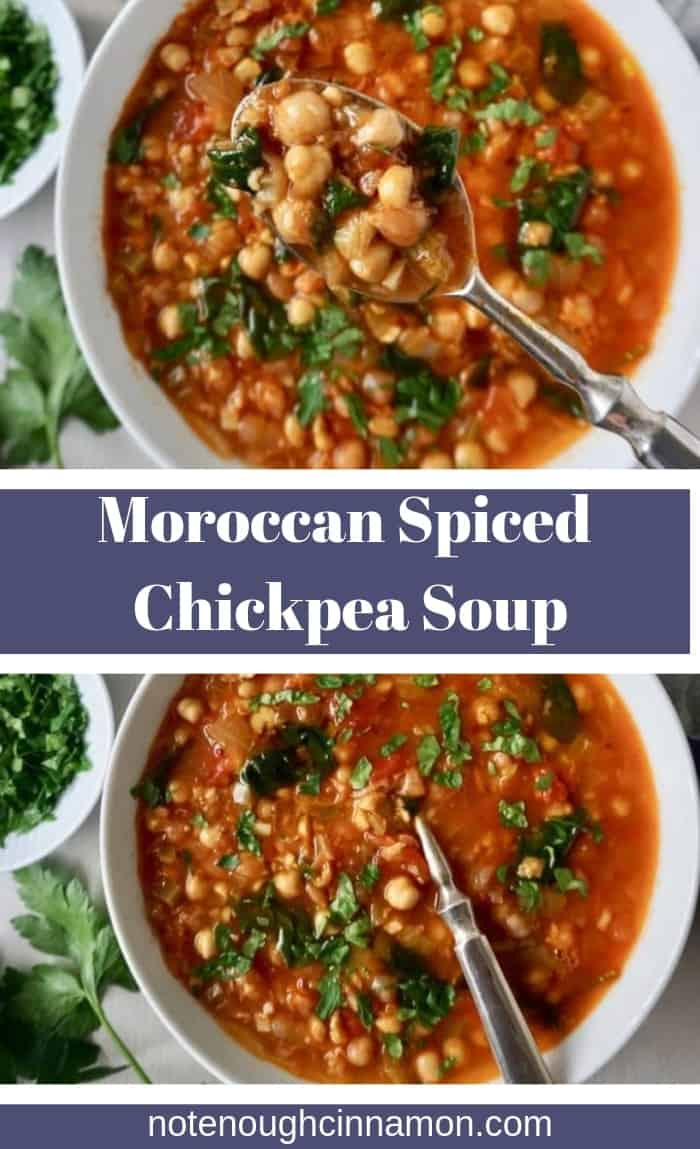A simple but flavorful chickpea soup, spiced with typical Moroccan spices like cumin, paprika, and cinnamon. It's hearty and delicious. Naturally gluten free and vegan too.#moroccan #chickpeasoup #wintersoup #winterrecipes #spices #vegan #glutenfree #healthy #veganrecipes