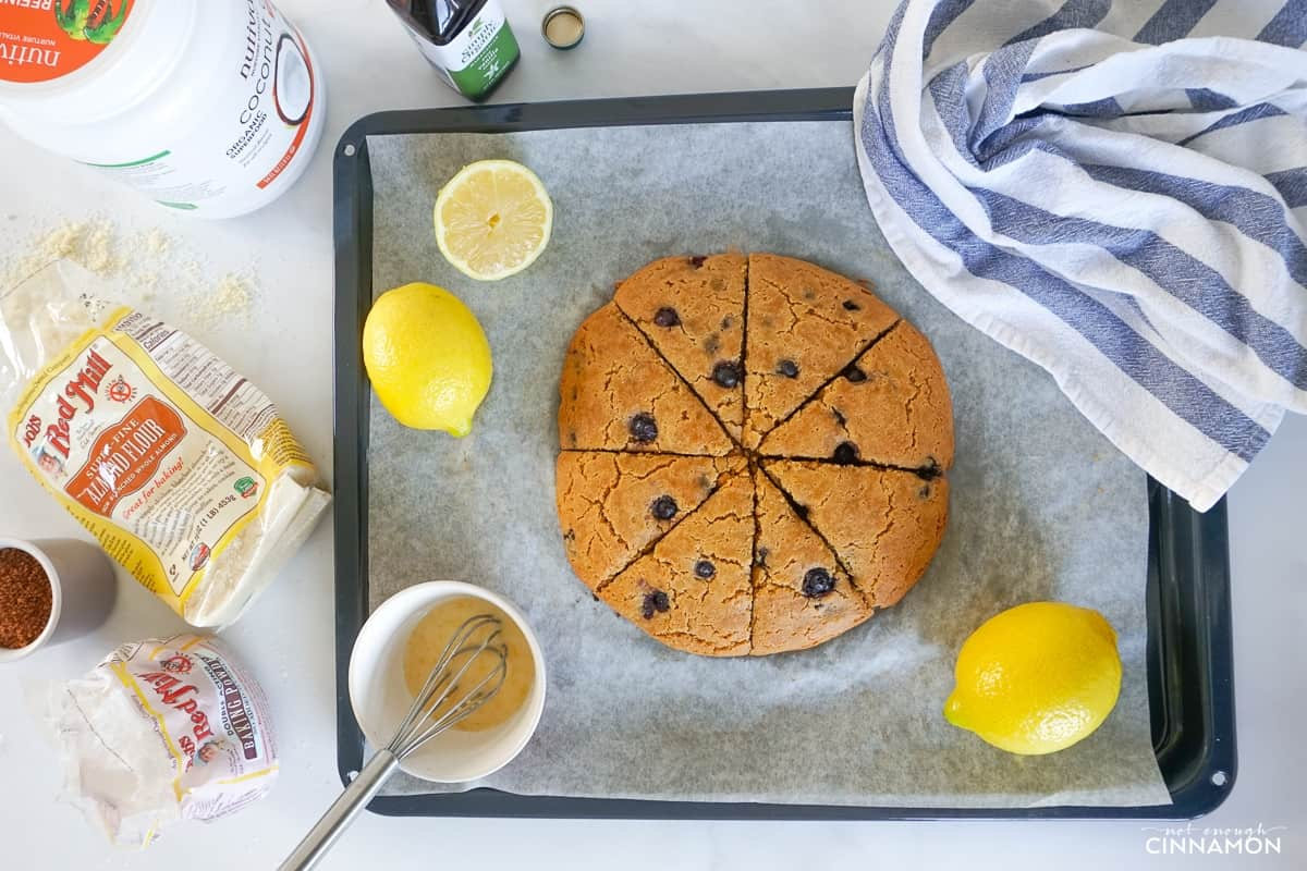 freshly baked lemon blueberry scones made with almond flour on a baking sheet