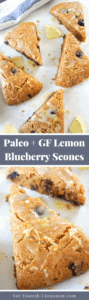 Delicious and healthier lemon blueberry scones made with almond flour, for extra flavor and an amazing moist texture! They are #paleo, #glutenfree, #dairyfree and can easily be made without refined sugar. They make the perfect afternoon treat!