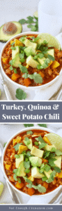 A hearty and healthy chili, made with quinoa, turkey and sweet potatoes. Naturally gluten free. Find this easy recipe on NotEnoughCinnamon.com #cleaneating #glutenfree #healthydinner