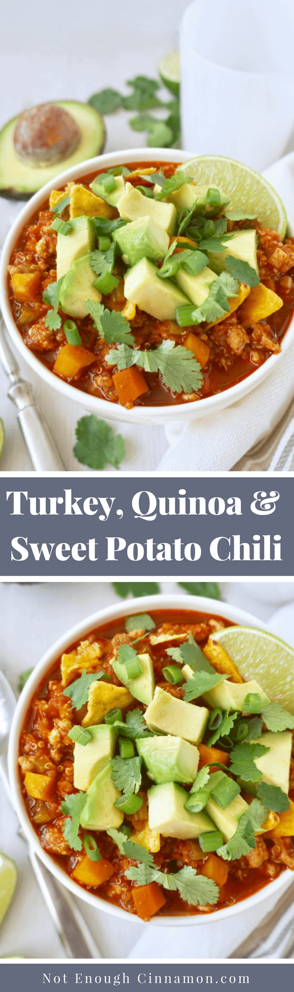 Turkey, Quinoa & Sweet Potato Chili | A hearty and healthy chili, made with superfood quinoa, lean ground turkey and chunks of sweet potatoes. Naturally gluten-free. #cleaneating #glutenfree #healthydinner