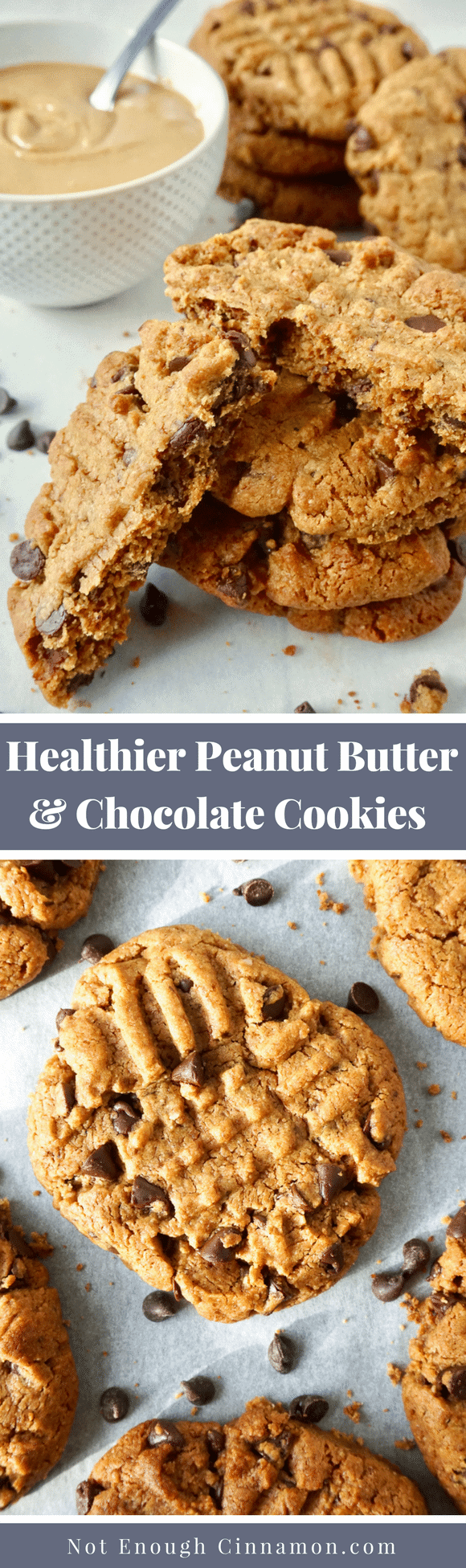 Super easy and delicious peanut butter and chocolate cookies, made with just a few basic ingredients. They are refined sugar- free thanks to coconut sugar and naturally gluten-free, too. #cookierecipes, #peanutbuttercookies, #chocolatechipcookies, #healthybaking