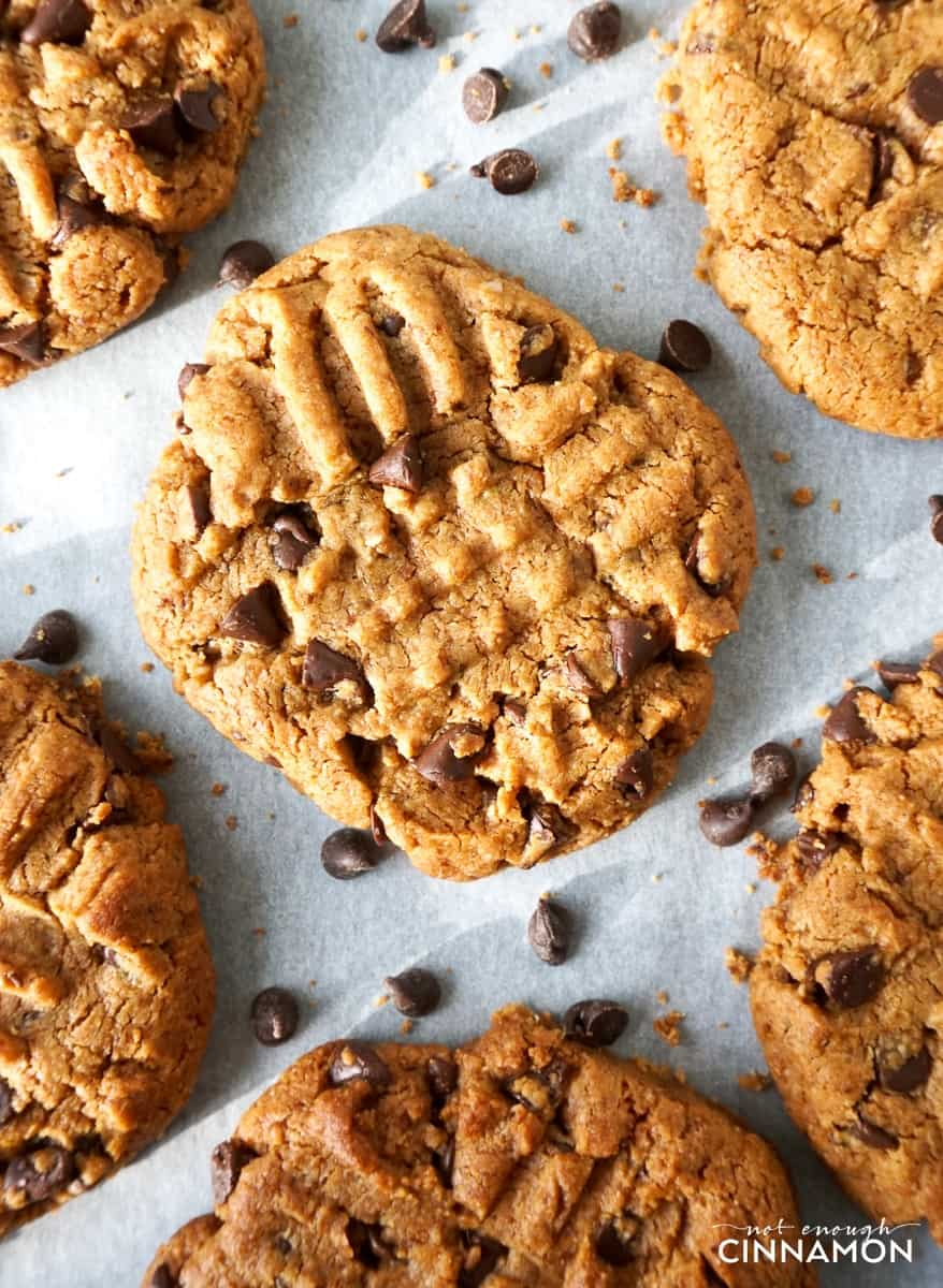 Healthier Peanut Butter and Chocolate Cookies Recipe on NotEnoughCinnamon.com