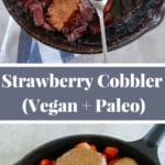 Collage showing strawberry cobbler in cast iron skillet, before baking and after baking.