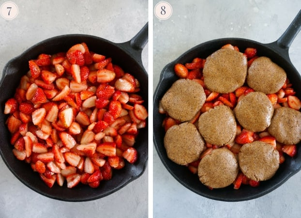 Step by step photos for assembling healthy strawberry cobbler