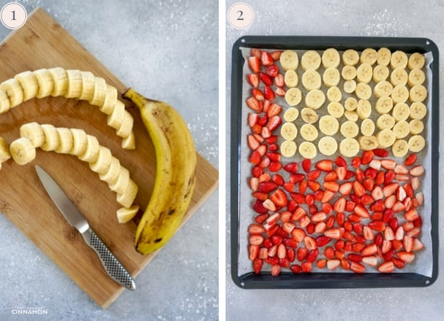 Two Step by step photos showing a banana and banana slices on a cutting board, and banana and strawberry slices arranged on a baking sheet.