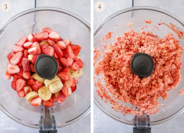 Two Step by step photos showing frozen strawberry and banana in the bowl of the food processor, and then being processed.