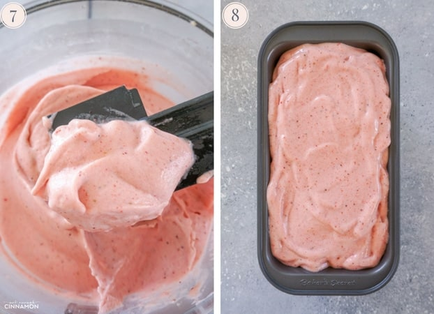 Two Step by step photos showing just made strawberry and banana ice cream in the food processor and in a metal tin.