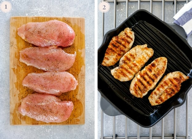 Collage of two photo showing raw chicken breast on a cutting board with salt, pepper and olive oil, and cooking chicken breast in a grill pan.