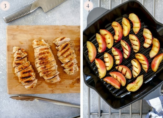 A collage of two photos showing grilled chicken breasts sliced and grilled peach slices in a grill pan.