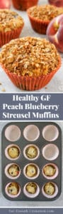 Pinterest collage of two photos: a peach blueberry muffin and a muffin pan half filled with batter
