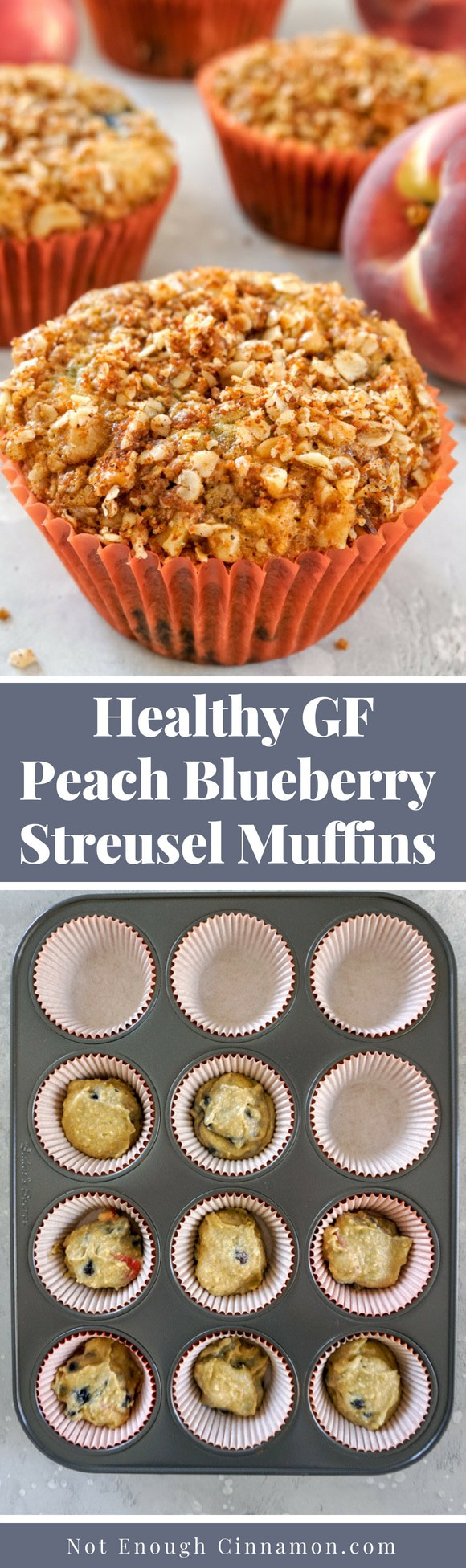A healthy peach and blueberry muffins recipe made with oats and almond flour, and sweetened with maple syrup. Gluten free and refined sugar free. Recipe on NotEnoughCinnamon.com