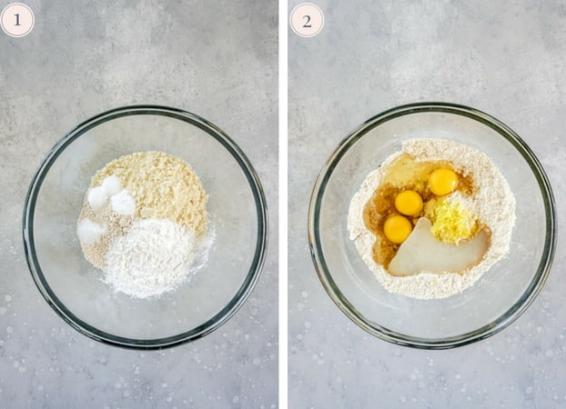 A collage of two photos showing a glass bowl with flours, eggs, coconut oil and lemon zest to make peach blueberry muffins