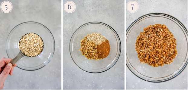 A collage of three pictures showing ground oats, a mix of oats, nuts and coconut sugar in a glass bowl, and all the ingredients combined