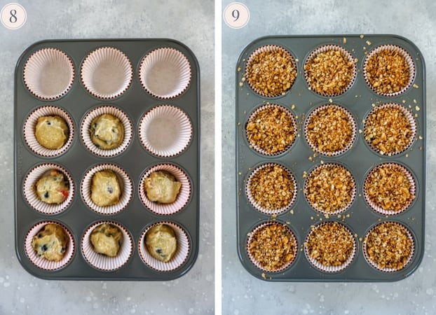 A collage of two photos showing a muffin tin half filled with peach blueberry muffin batter and then with batter top with streusel