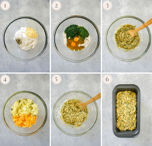 Step by step pictures of how to make a gluten free cheddar chive zucchini bread