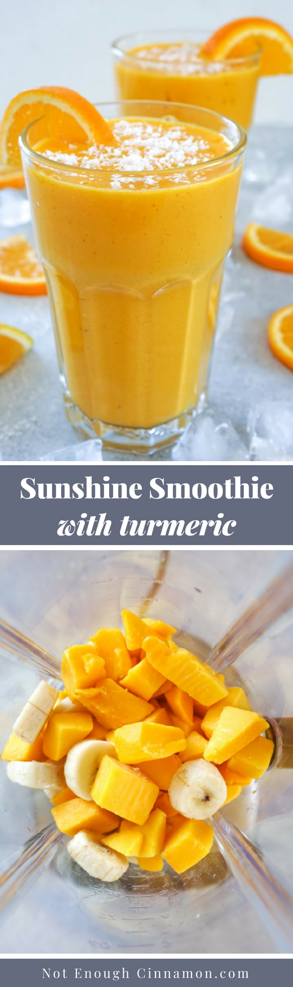 This amazing sunshine smoothie is not only delicious thanks to the mango, banana and orange combo; it's also a nutrition powerhouse. It's high in protein, it covers all of your daily Vitamin C needs and it's anti-inflammatory + antioxidant thanks to the turmeric! Recipe on NotEnoughCinnamon.com #breakfastrecipe #smoothierecipe #healthybreakfast