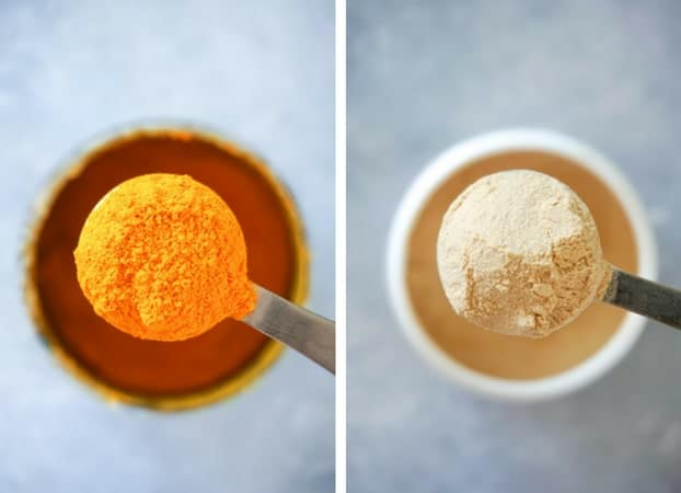Rounded teaspoons of standardized turmeric extract and Vitamin C powder