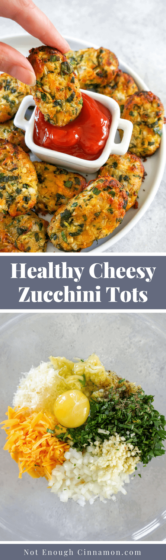 Cheesy baked zucchini tots made with grated zucchini, fresh herbs, cheddar, parmesan and breadcrumbs. Both kids and adults will love these! #Glutenfree too. Recipe on NotEnoughCinnamon.com #healthyrecipe #summerrecipe #tatertots