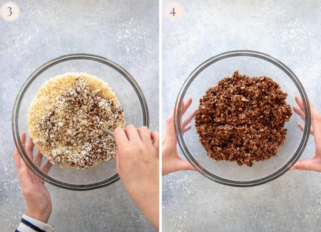 Puffed rice mixed with melted chocolate and peanut butter, in a large glass bowl