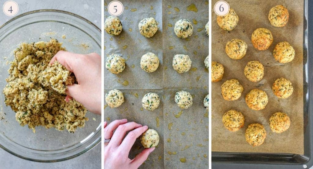 Step by step pictures to make baked zucchini meatballs