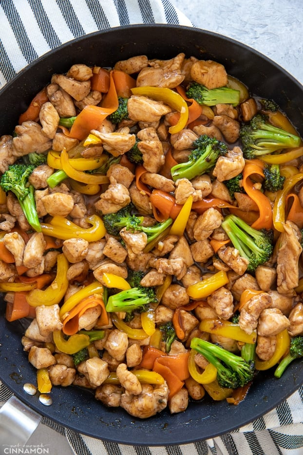 overhead shot of Chinese 5-Spice Chicken in a black skillet