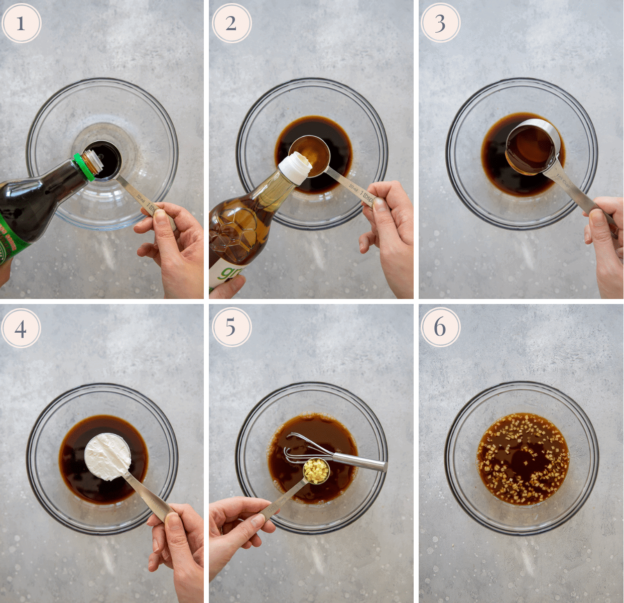 picture collage demonstrating how to mix the perfect healthy paleo Chinese Stir-fry sauce