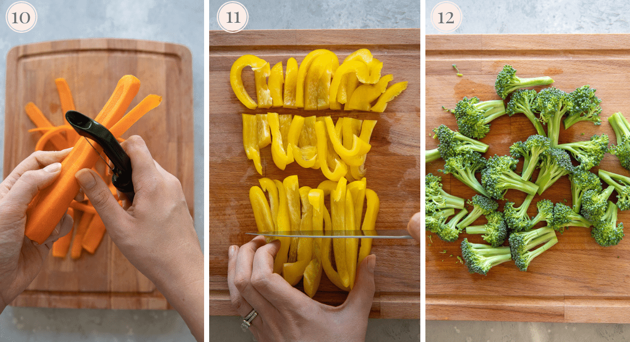 photo collage demonstrating how to chop veggies for making a Paleo Chinese Chicken Stir-fry